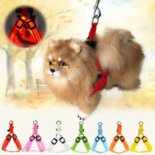 LED Flashing Light Pet Dog Cat Collar Harness Nylon Safety Leash Rope  Belt
