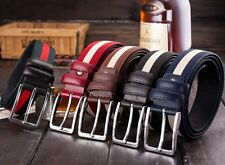 Mens Casual Stripe Waistband Leather Canvas Pin Buckle Belt Waist Strap Belts