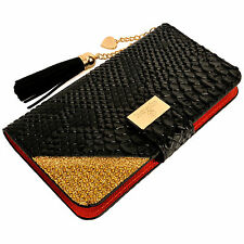 Luxury Snake Skin PU Leather Flip Wallet Purse Case BLACK for Galaxy Note 3 4 5