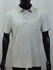 NAUTICA Slim Fit Solid Gray Short Sleeve Cotton Polo Shirt Mens L or XL NEW