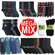 30 Pairs Mens Mega Mix Socks Cotton Rich Stripe Argyle Colour Heel Toe Sport