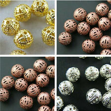 Wholesale 200/150/100pcs Silver/Copper/Gold Plated Hollow Spacer Beads 4/6/8mm