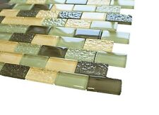 "Green Blend Glass Mosaic Tile - 1""x2"" Green Glass & Yellow Glass Tile"