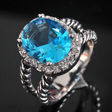 Hot Stunning Retro Style Jewelry Blue Topaz S80 Silver Gemstone Ring size 6~9