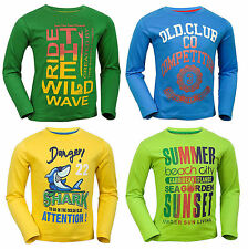 NEW OVS Boys Surfer Style Slogan Design Long Sleeved T Shirt Top Asstd Ages 2-6y