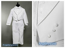 Baby Boy Paisley White Suit/Tuxedo Baptism/Wedding 5 pieces Outfit/Sizes S to 7