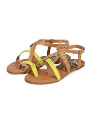 New Women Qupid Archer-61 PU Woven Toe Ring Criss Cross Gladiator Sandal Size