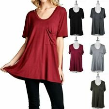 Basic Solid Short Sleeve Scoop Neck Flowy T Shirt Top with Chest Pocket S M L