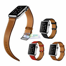 38mm/42mm Genuine Leather Watch Band Double Tour Bracelet Long Strap For iWatch