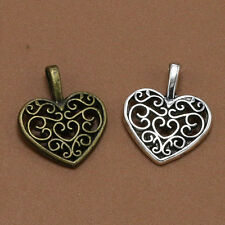 Lot Retro Tibet Silver Heart-shaped hollow Flower Charms Pendants Jewelry Making