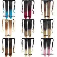 """22"""" Colorful Gradation Long Straight Ponytail Wrap On Pony Tail Hair Extensions"""