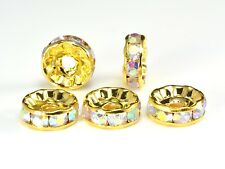 rhinestone copper spacer bead, yellow gold plated, white AB coated, 6-12mm