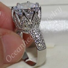 Size 6-10 Lady's Round White Topaz CZ Paved Eternal 925 Silver Engagement Ring