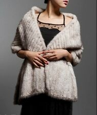 100% Real Knit Mink Fur Scarf Cape Shawl Wrap Stole Coat Evening Spring Fashion