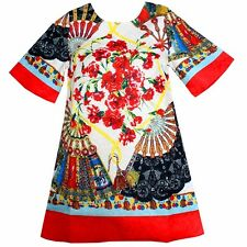 Girls Dress Fan Flower Embroider Party Pageant  Princess Kids Clothing SZ 2-8
