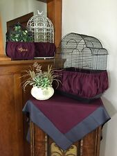 Handmade Burgundy Wine Fabric Bird Cage Skirt Seed Catcher Guard or Cover XS-XXL