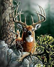 LARGE DEER - PRINTED X STITCH CHART 14/18 CT ARTWORK © STEVEN GARDNER