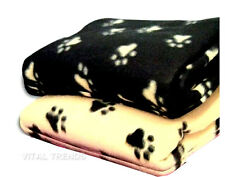 Large Warm Soft Fleece Dog Cat Puppy Cot Bed Pet Blanket Paw Print New