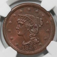 1856 N-6 NGC MS 63 BN Upright 5 Braided Hair Large Cent Coin 1c