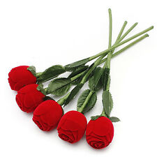 Fashion Red Rose Romantic Wedding Ring Earring Pendant Necklace Display Gift Box