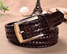 Hot New Mens Retro Vintage Dress Casual Belt Patent Leather Weave Braided Belts