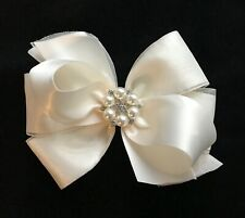 IVORY satin Flower girl hair bow rhinestone pearl 5 inch pageant organza clip