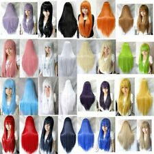 Korean Women Long Straight Cosplay Costumes Wig Heat Resistant Fiber Full Wigs