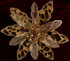 New Glitter Chiffon Velour Leopard or Zebra Clip-On Flower-Wedding Floral Hair