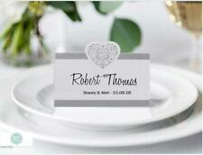 Personalised Vintage Wedding Place Name / Setting / Table / Meal Cards loveheart