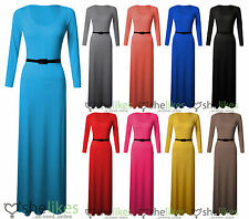 NEW WOMENS LADIES SCOOP NECK LONG SLEEVE JERSEY BELTED MAXI DRESS 8-26 PLUS SIZE