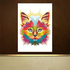 Psychedelic Persian cat poster print wall art