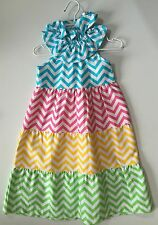 Baby Clothing Mud Pie Safari Girls Chevron Multi Colored Dress