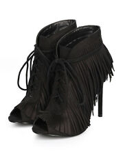 New Women Wild Rose Beryl-01 Suede Peep Toe Fringe Strappy Stiletto Bootie Size