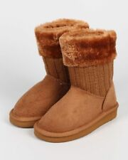 New Girl Link Aling-36K Fur Collar Mix Media Sweater Round Toe Winter Boot 9 - 4