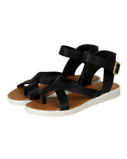 Qupid Dale-05 New Women PU Open Toe Criss Cross Ankle Strap Platform Flat Sandal