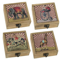 *New* vintage style Wooden Circus Trinket/Jewellery box