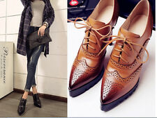 New Womens Sexy Leather Lace Up Pointed Toe Wing Tip High Heel Court Party Shoes