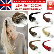 16''18''20'' 100% Remy Micro Ring Beads Loop Human Hair Extensions 100s