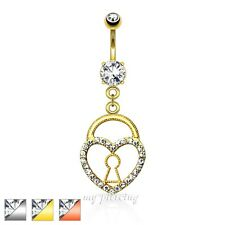"""Keyhole Heart Lock with Paved Gems Dangle Navel Ring Ion Plated Steel 14G - 3/8"""""""