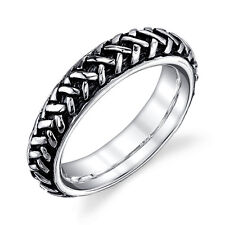 925 Braided Sterling Silver Oxidized solid woven ring band sizes 5 6 7 8 & 9