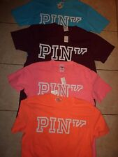 "VICTORIAS SECRET PINK BRAND NEW CAMPUS ""PINK"" POCKET SCOOPNECK TEESHIRT NWT"