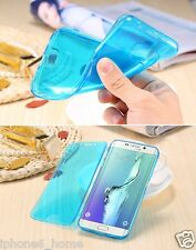 Transparent Blue Soft Silicone Gel Flip Case Cover For Samsung Galaxy S6 Edge