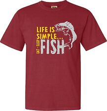 LIFE is Simple EAT SLEEP FISH  tee shirt  FREE SHIPPING
