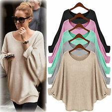 Womens Crew Neck Baggy Batwing Pullover Casual Knitted Jumper Blosue Top Sweater