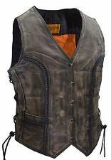 WOMEN'S MOTORCYCLE DISTRESSED BROWN CLASSIC BRAIDED LEATHER VEST W/SIDE LACES