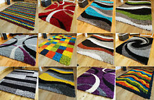 MULTI COLOURED FUNKY BRIGHT MODERN THICK SOFT HEAVY SHAGGY LIVING AREA RUG MAT