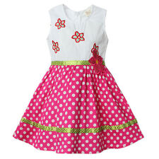 New Girls Toddlers Charming 100% Cotton Flowers Pattern  Dress 2-6T D1057