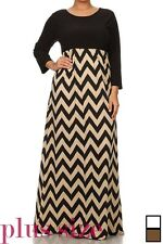 PLUS SIZE 3/4 SLEEVE BLACK TAUPE CHEVRON STRIPED LONG SILKY MAXI DRESS 1X 2X 3X