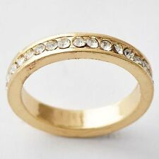 Simple Clear CZ Promise Love Band Ring Womens Gold Filled Size 6.5,7.5,9