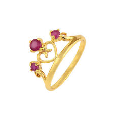 Heart Crown Promise Love Band Ring Red Ruby 18K Yellow Gold Plated Size 6 7 8 9